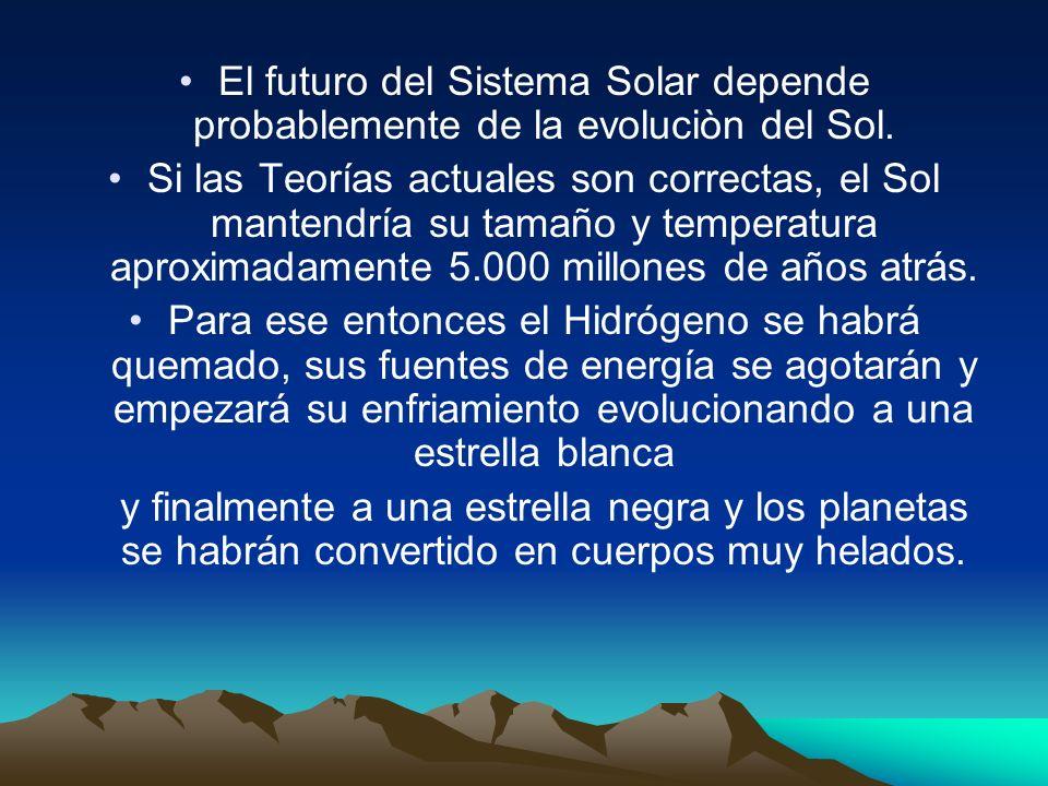 El futuro del Sistema Solar depende probablemente de la evoluciòn del Sol. Si las Teorías actuales son correctas, el Sol mantendría su tamaño y temper