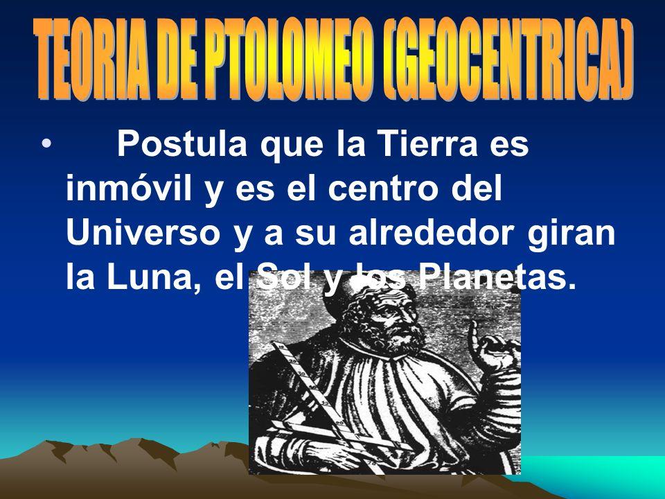 Postula que la Tierra es inmóvil y es el centro del Universo y a su alrededor giran la Luna, el Sol y los Planetas.