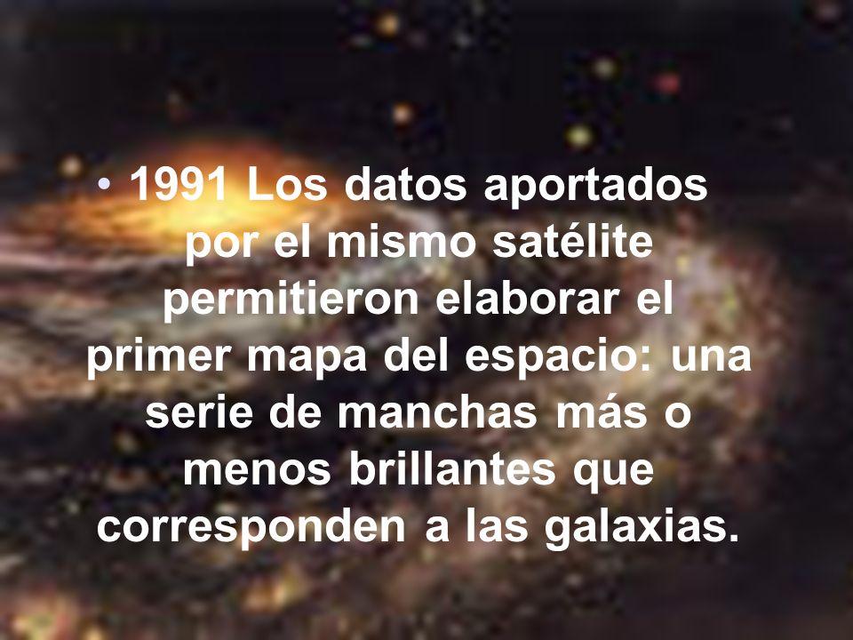 1991 Los datos aportados por el mismo satélite permitieron elaborar el primer mapa del espacio: una serie de manchas más o menos brillantes que corres