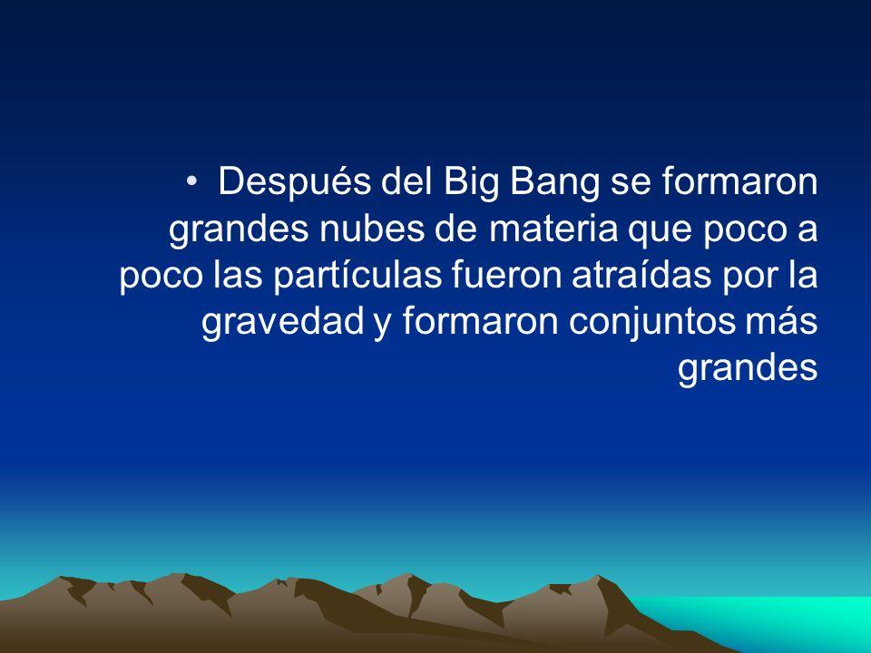 Después del Big Bang se formaron grandes nubes de materia que poco a poco las partículas fueron atraídas por la gravedad y formaron conjuntos más gran