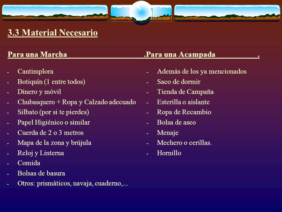 3.3 Material Necesario Para una Marcha.Para una Acampada. - Cantimplora - Botiquín (1 entre todos) - Dinero y móvil - Chubasquero + Ropa y Calzado ade