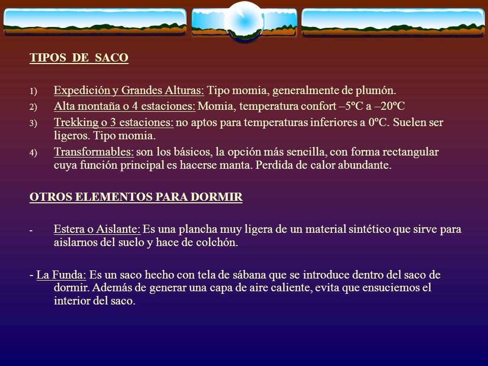 TIPOS DE SACO 1) Expedición y Grandes Alturas: Tipo momia, generalmente de plumón. 2) Alta montaña o 4 estaciones: Momia, temperatura confort –5ºC a –