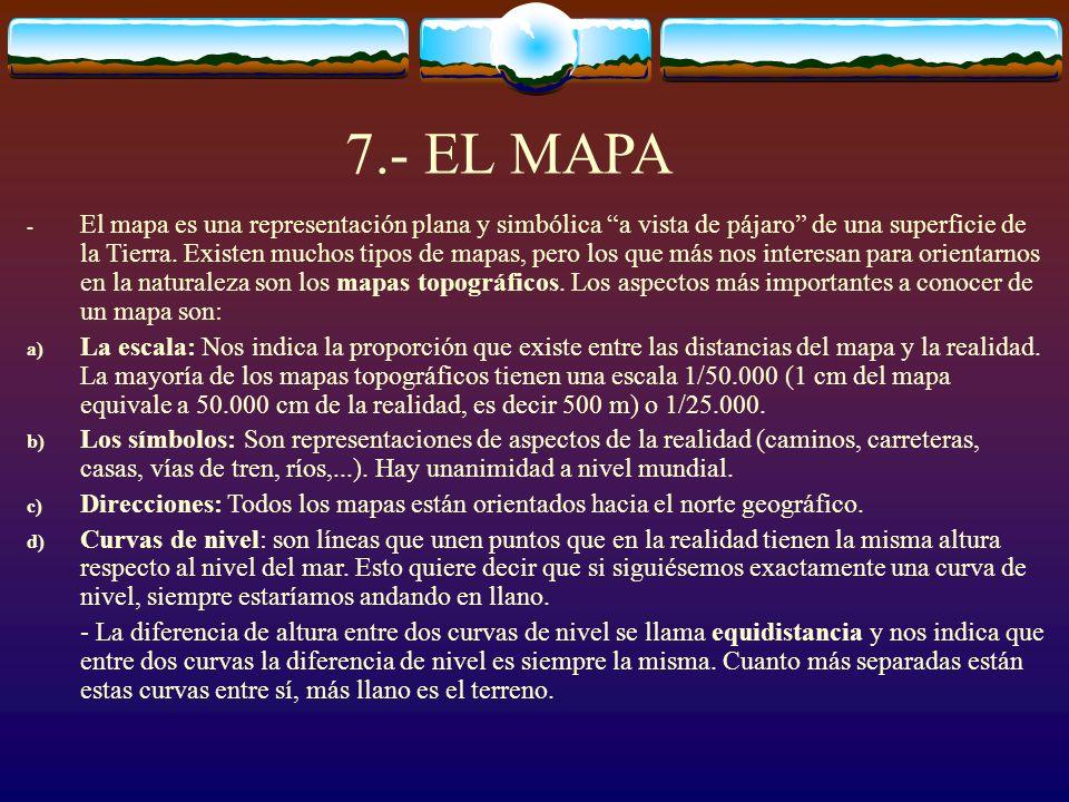 7.- EL MAPA - El mapa es una representación plana y simbólica a vista de pájaro de una superficie de la Tierra. Existen muchos tipos de mapas, pero lo