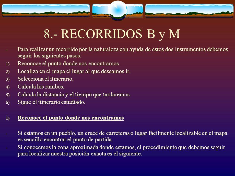 8.- RECORRIDOS B y M - Para realizar un recorrido por la naturaleza con ayuda de estos dos instrumentos debemos seguir los siguientes pasos: 1) Recono