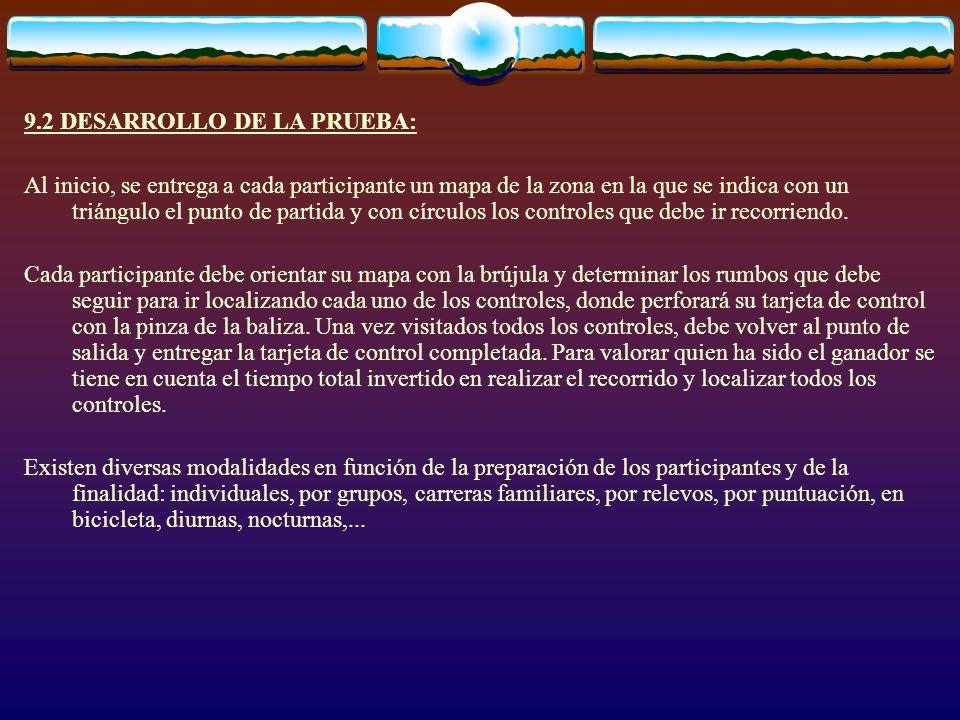 9.2 DESARROLLO DE LA PRUEBA: Al inicio, se entrega a cada participante un mapa de la zona en la que se indica con un triángulo el punto de partida y c