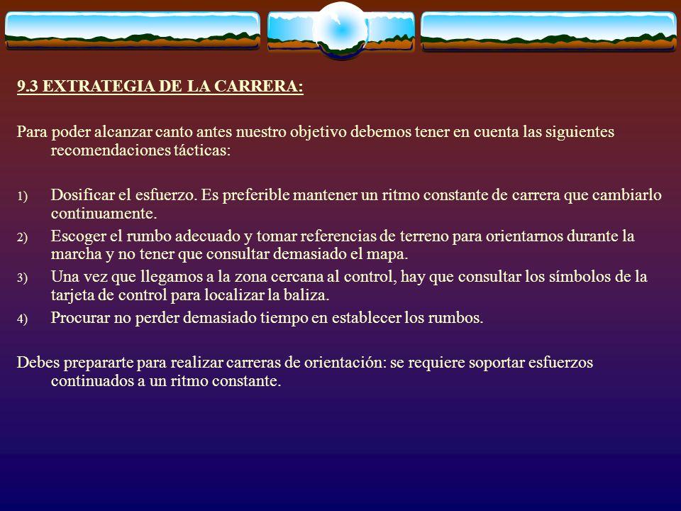 9.3 EXTRATEGIA DE LA CARRERA: Para poder alcanzar canto antes nuestro objetivo debemos tener en cuenta las siguientes recomendaciones tácticas: 1) Dos