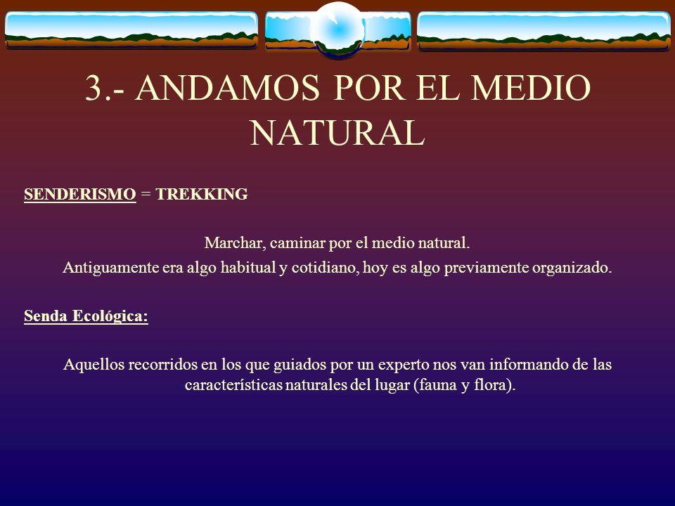 3.- ANDAMOS POR EL MEDIO NATURAL SENDERISMO = TREKKING Marchar, caminar por el medio natural. Antiguamente era algo habitual y cotidiano, hoy es algo