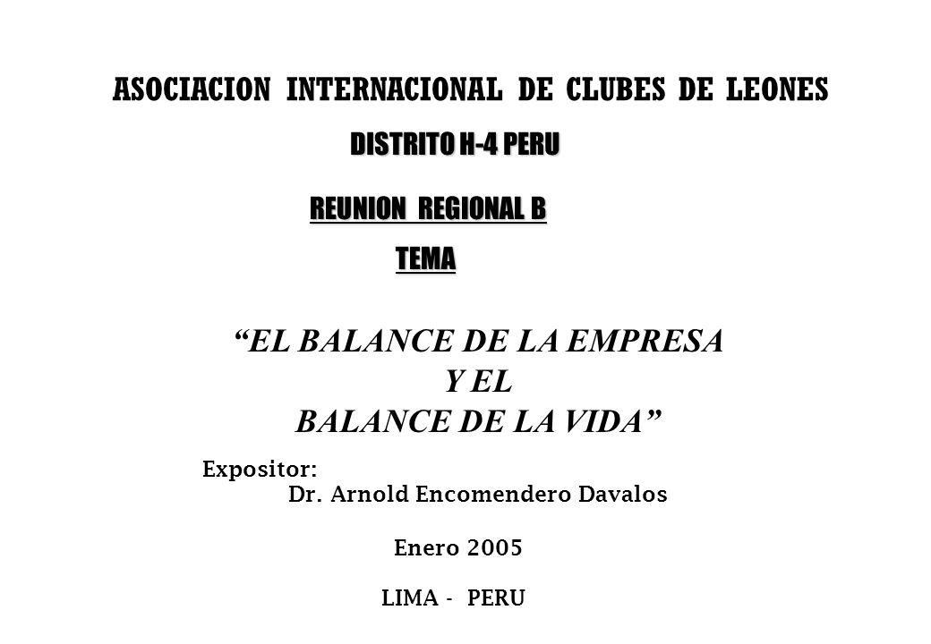 ASOCIACION INTERNACIONAL DE CLUBES DE LEONES EL BALANCE DE LA EMPRESA Y EL BALANCE DE LA VIDA Expositor: Dr. Arnold Encomendero Davalos DISTRITO H-4 P