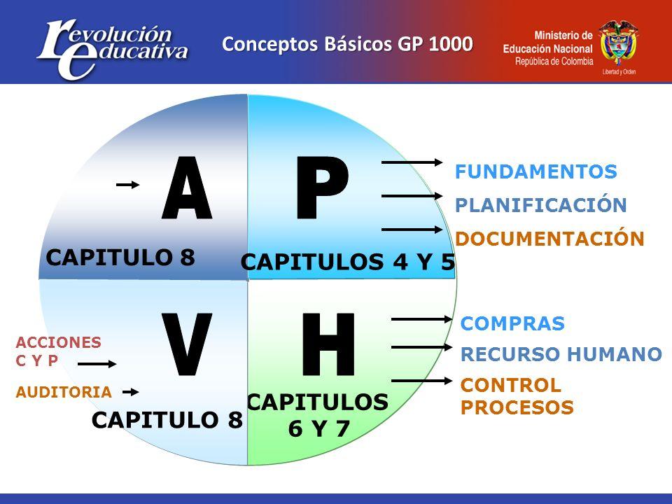 Conceptos Básicos GP 1000 CAPITULOS 6 Y 7 CAPITULO8 CAPITULOS 4 Y 5 FUNDAMENTOS PLANIFICACIÓN DOCUMENTACIÓN COMPRAS RECURSO HUMANO CONTROL PROCESOS AC