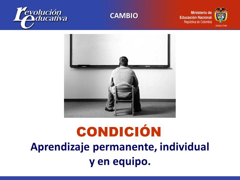 CAMBIO Aprendizaje permanente, individual y en equipo. CONDICIÓN