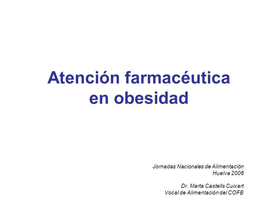 Atención farmacéutica en obesidad Jornadas Nacionales de Alimentación Huelva 2006 Dr. Marta Castells Cuixart Vocal de Alimentación del COFB