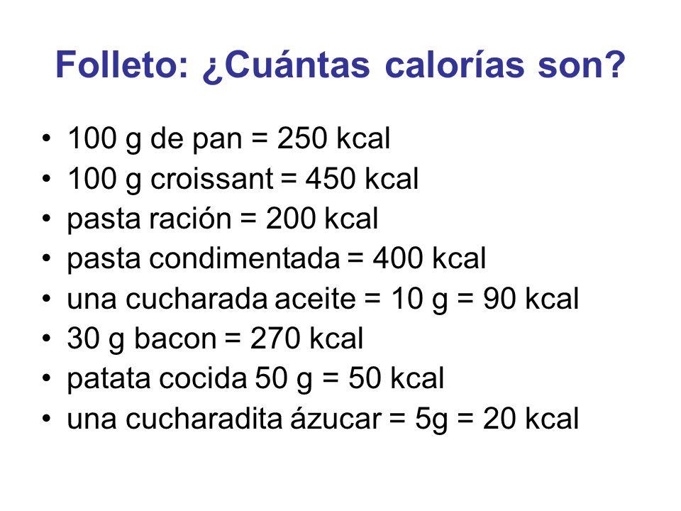 Folleto: ¿Cuántas calorías son? 100 g de pan = 250 kcal 100 g croissant = 450 kcal pasta ración = 200 kcal pasta condimentada = 400 kcal una cucharada