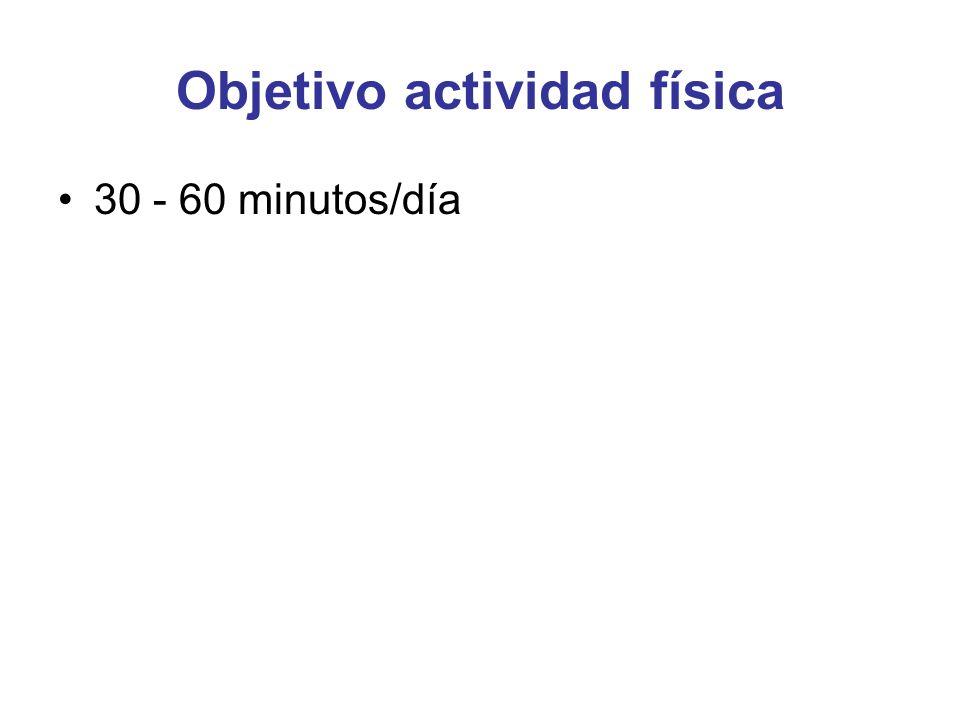 Objetivo actividad física 30 - 60 minutos/día