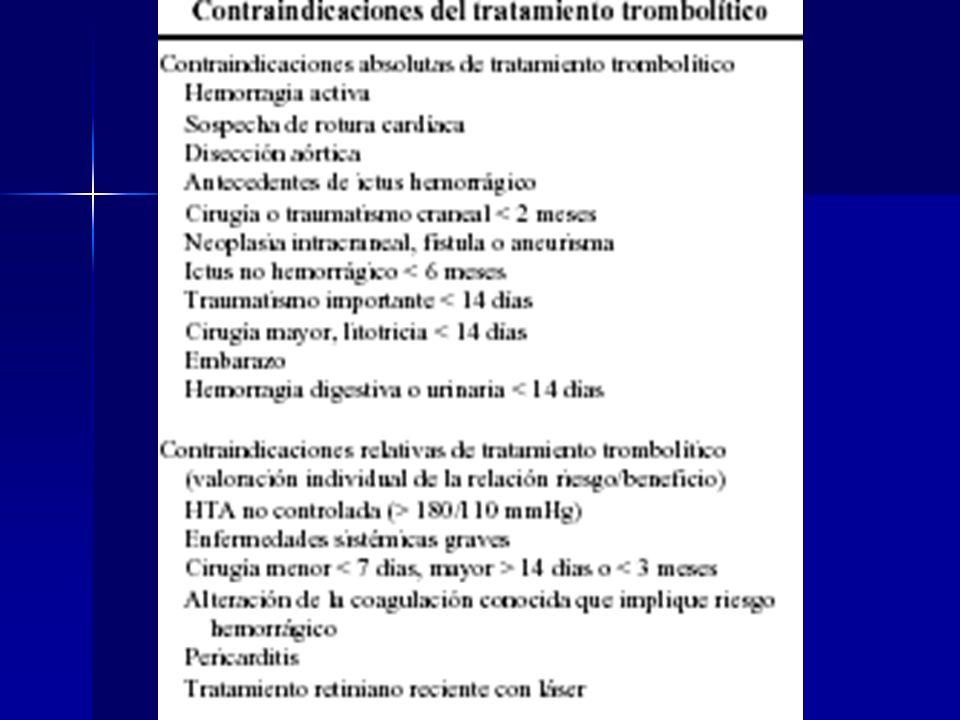 Fibrinoliticos Streptoquinasa: 1500,000 UI pasar en 30-60 min Streptoquinasa: 1500,000 UI pasar en 30-60 min Alteplase: 15 mg ev bolo, luego 0.75 mg/K