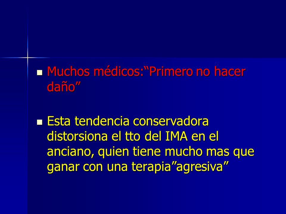 AMI-Florence Alexander and Petersen Muchas de las terapias para IMA demostraron similares beneficios en ancianos vs mas jovenes Muchas de las terapias