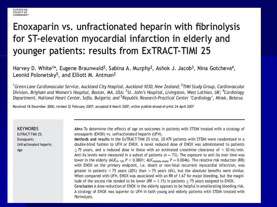 PTCA vs Fibrinoliticos Analisis riesgo beneficio favorece PTCA sobre los fibrinoliticos en adultos mayores en pequeño trials, metaanalisis, pero es ne