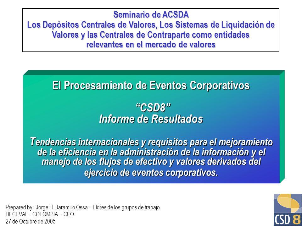 El Procesamiento de Eventos Corporativos CSD8 Informe de Resultados T endencias internacionales y requisitos para el mejoramiento de la eficiencia en
