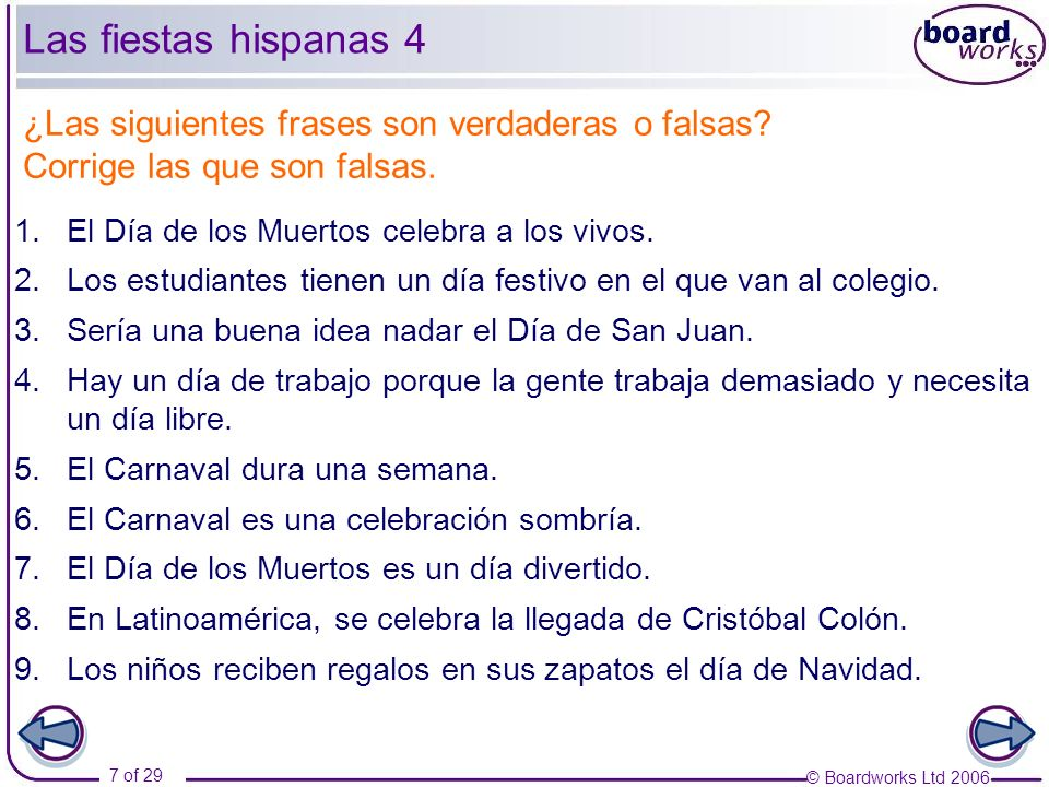 © Boardworks Ltd 2006 28 of 29 Las fiestas de América Latina 2