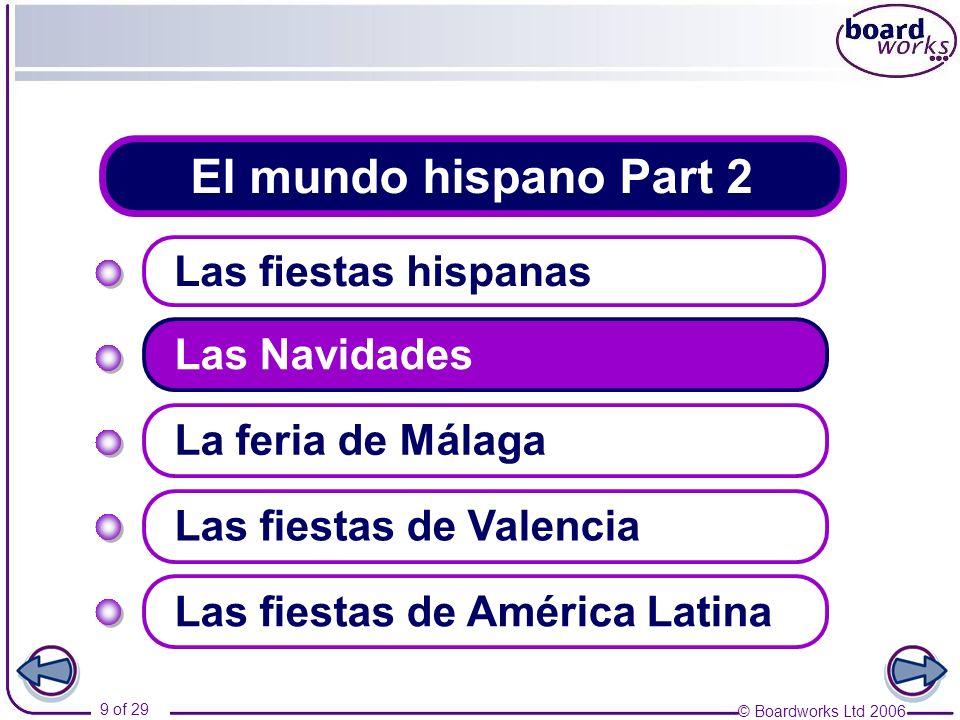 © Boardworks Ltd 2006 9 of 29 El mundo hispano Part 2 Las fiestas hispanas Las Navidades Las fiestas de Valencia La feria de Málaga Las fiestas de Amé