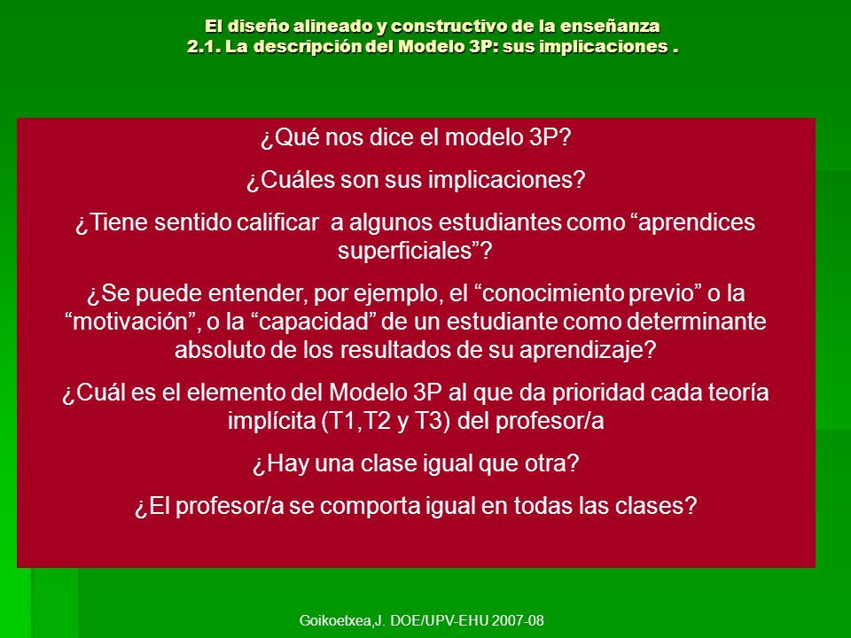 El diseño alineado y constructivo de la enseñanza 2.1. La descripción del Modelo 3P: sus implicaciones. ¿Qué nos dice el modelo 3P? ¿Cuáles son sus im