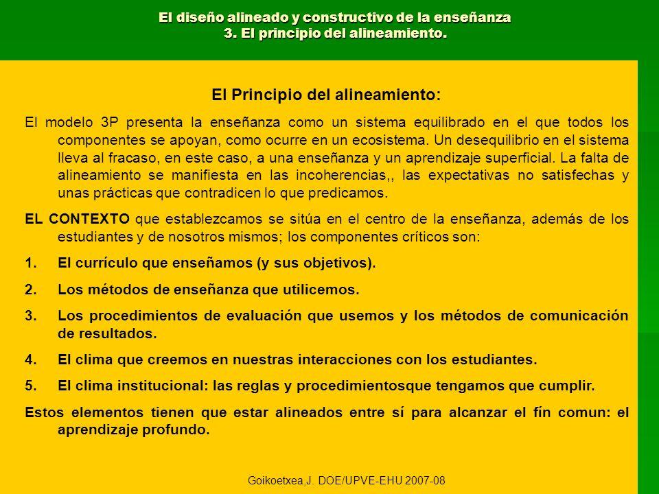 El diseño alineado y constructivo de la enseñanza 3. El principio del alineamiento. El Principio del alineamiento: El modelo 3P presenta la enseñanza