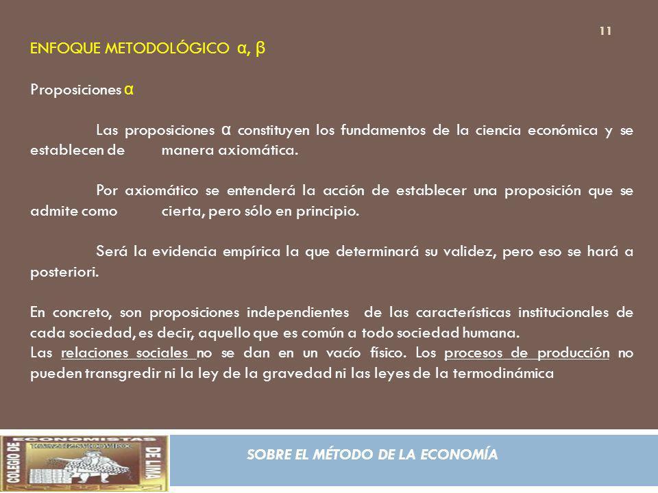 SOBRE EL MÉTODO DE LA ECONOMÍA ENFOQUE METODOLÓGICO α, β Proposiciones α Las proposiciones α constituyen los fundamentos de la ciencia económica y se