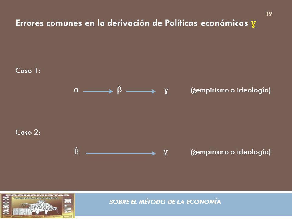SOBRE EL MÉTODO DE LA ECONOMÍA Errores comunes en la derivación de Políticas económicas ɣ Caso 1: α β ɣ (¿empirismo o ideología) Caso 2: ɣ (¿empirismo