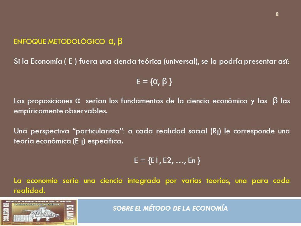 SOBRE EL MÉTODO DE LA ECONOMÍA ENFOQUE METODOLÓGICO α, β E j = { α j, β j } Observación: En esta perspectiva cabe entonces la posibilidad lógica de que existan realidad sin teoría.