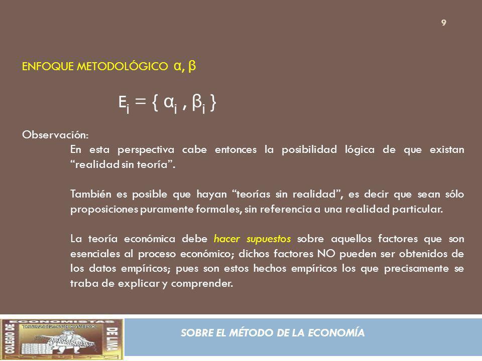 SOBRE EL MÉTODO DE LA ECONOMÍA ENFOQUE METODOLÓGICO α, β E j = { α j, β j } Observación: En esta perspectiva cabe entonces la posibilidad lógica de qu