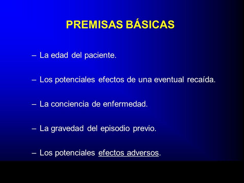 PREMISAS BÁSICAS –La edad del paciente. –Los potenciales efectos de una eventual recaída. –La conciencia de enfermedad. –La gravedad del episodio prev