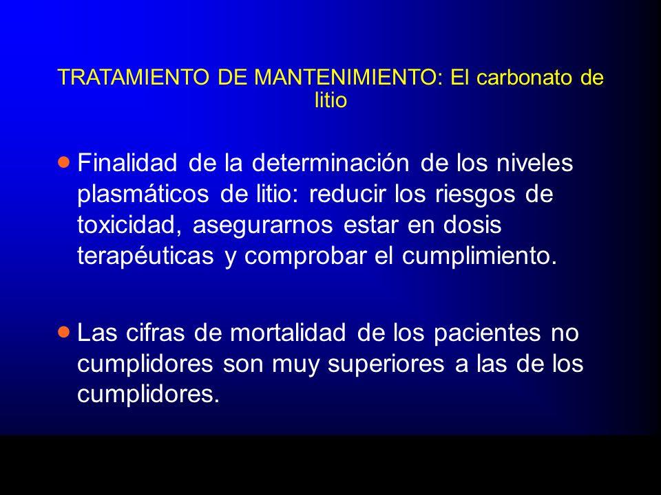 TRATAMIENTO DE MANTENIMIENTO: El carbonato de litio Finalidad de la determinación de los niveles plasmáticos de litio: reducir los riesgos de toxicida