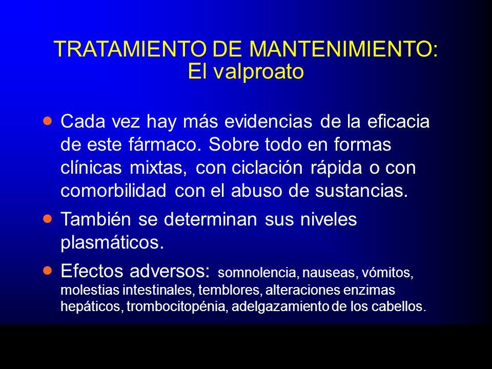 TRATAMIENTO DE MANTENIMIENTO: El valproato Cada vez hay más evidencias de la eficacia de este fármaco. Sobre todo en formas clínicas mixtas, con cicla