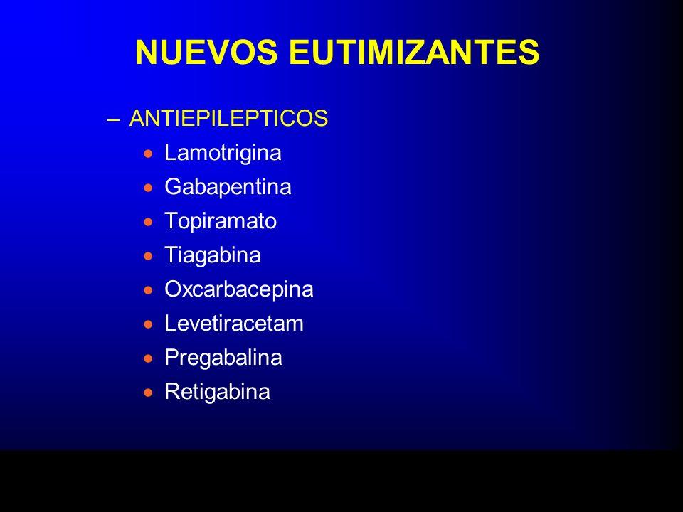 NUEVOS EUTIMIZANTES –ANTIEPILEPTICOS Lamotrigina Gabapentina Topiramato Tiagabina Oxcarbacepina Levetiracetam Pregabalina Retigabina