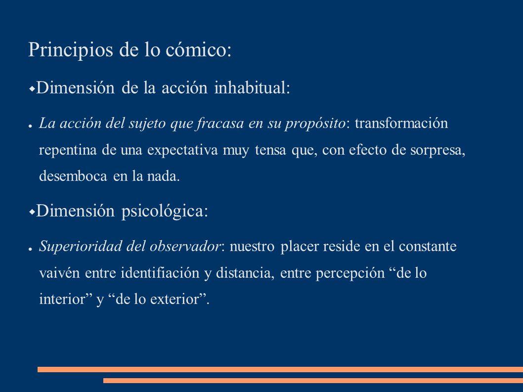 Principios de lo cómico: Dimensión de la acción inhabitual: La acción del sujeto que fracasa en su propósito: transformación repentina de una expectat