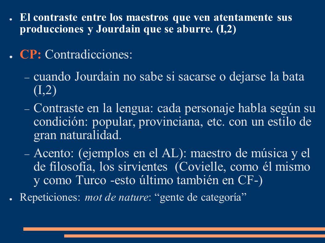 El contraste entre los maestros que ven atentamente sus producciones y Jourdain que se aburre. (I,2) CP: Contradicciones: cuando Jourdain no sabe si s