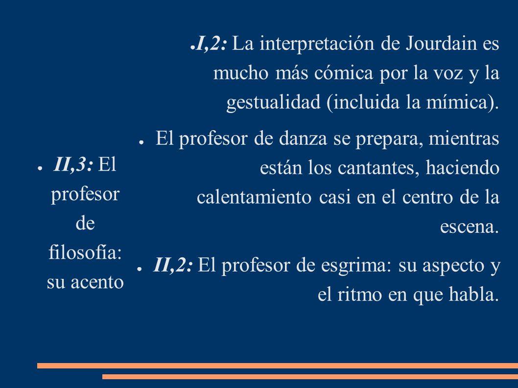 II,3: El profesor de filosofía: su acento I,2: La interpretación de Jourdain es mucho más cómica por la voz y la gestualidad (incluida la mímica). El