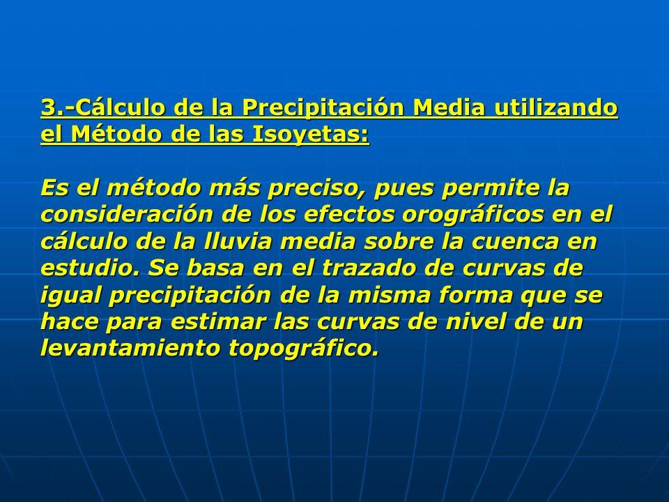 3.-Cálculo de la Precipitación Media utilizando el Método de las Isoyetas: Es el método más preciso, pues permite la consideración de los efectos orog
