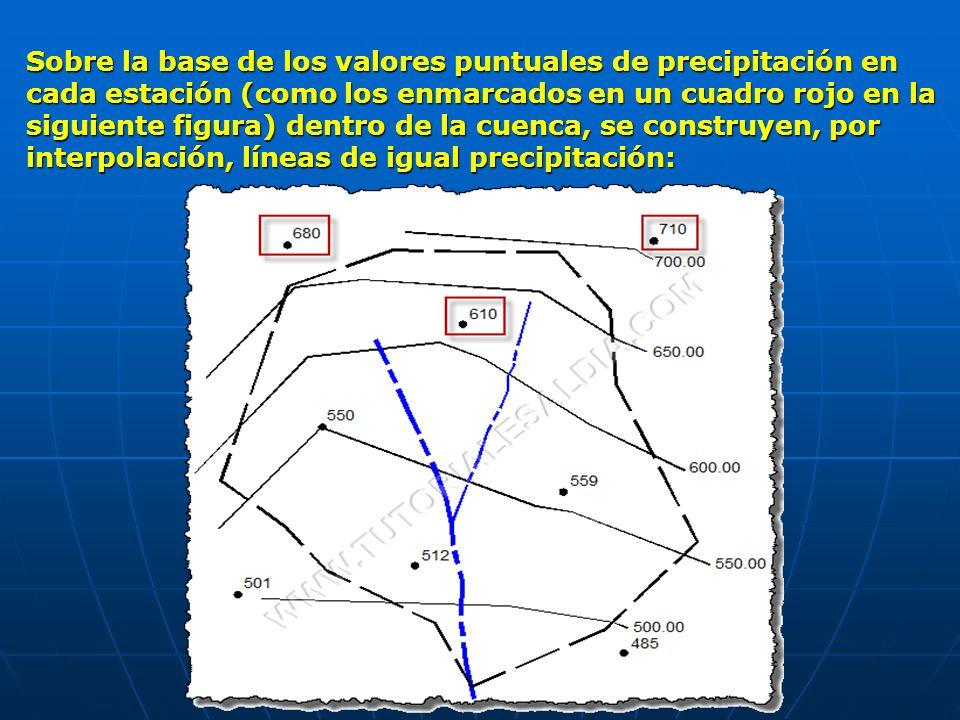 Sobre la base de los valores puntuales de precipitación en cada estación (como los enmarcados en un cuadro rojo en la siguiente figura) dentro de la c