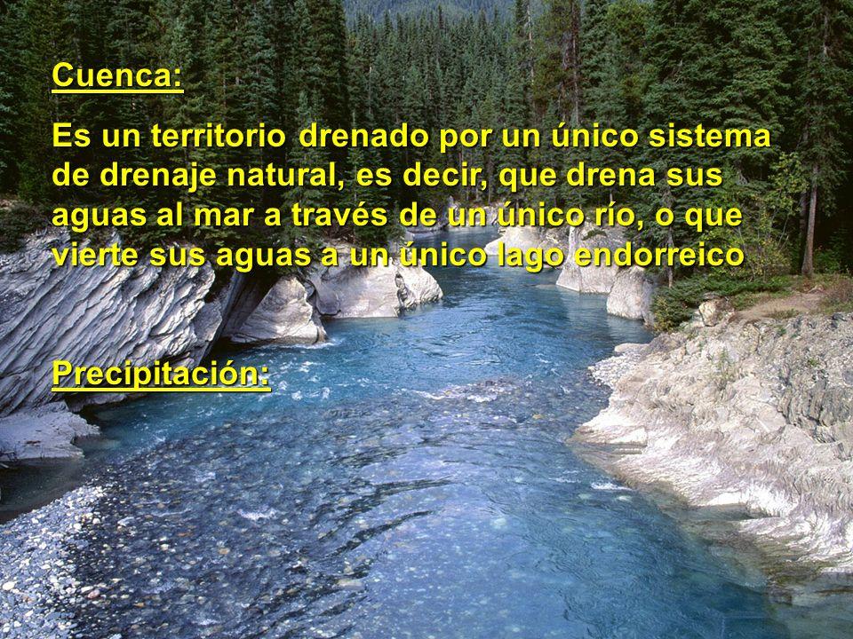 Cuenca: Es un territorio drenado por un único sistema de drenaje natural, es decir, que drena sus aguas al mar a través de un único río, o que vierte