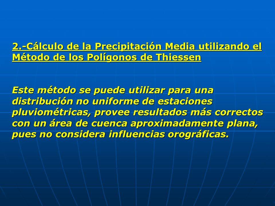2.-Cálculo de la Precipitación Media utilizando el Método de los Polígonos de Thiessen Este método se puede utilizar para una distribución no uniforme