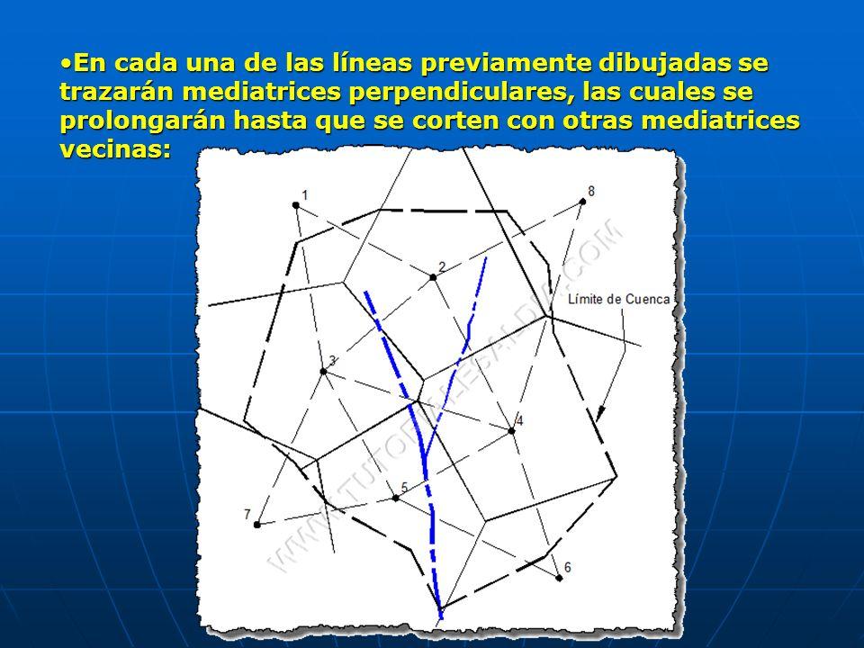 En cada una de las líneas previamente dibujadas se trazarán mediatrices perpendiculares, las cuales se prolongarán hasta que se corten con otras media