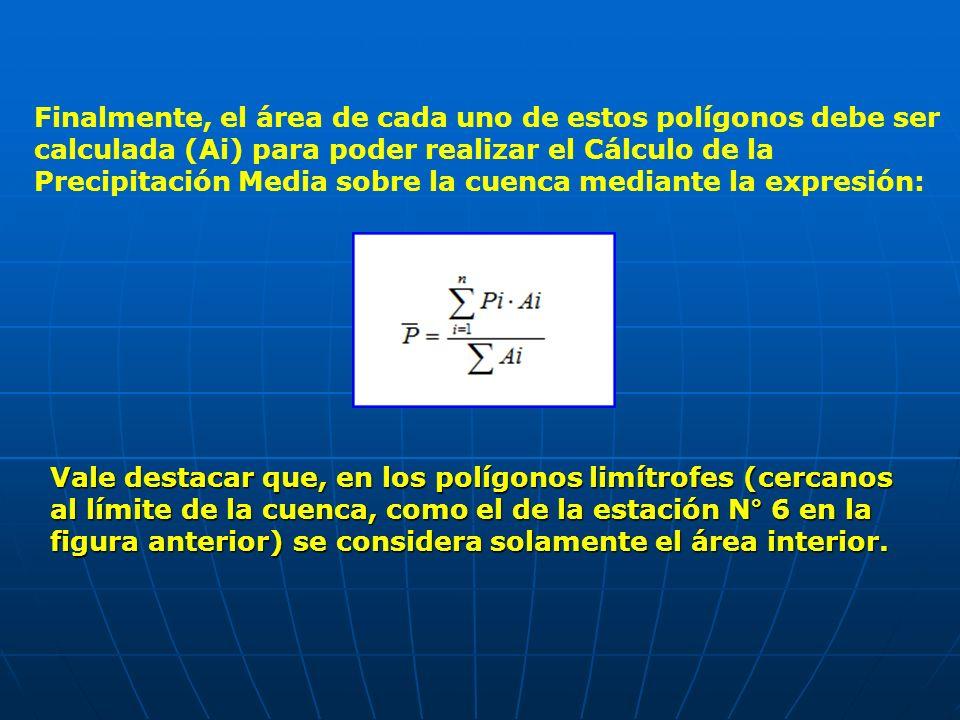 Finalmente, el área de cada uno de estos polígonos debe ser calculada (Ai) para poder realizar el Cálculo de la Precipitación Media sobre la cuenca me