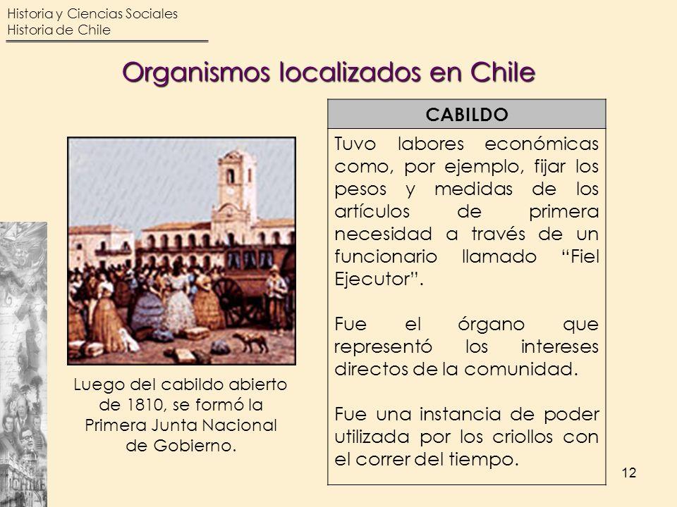 Historia y Ciencias Sociales Historia de Chile 12 CABILDO Tuvo labores económicas como, por ejemplo, fijar los pesos y medidas de los artículos de pri