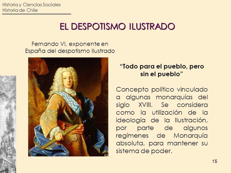 Historia y Ciencias Sociales Historia de Chile 15 Fernando VI, exponente en España del despotismo ilustrado Todo para el pueblo, pero sin el pueblo Co