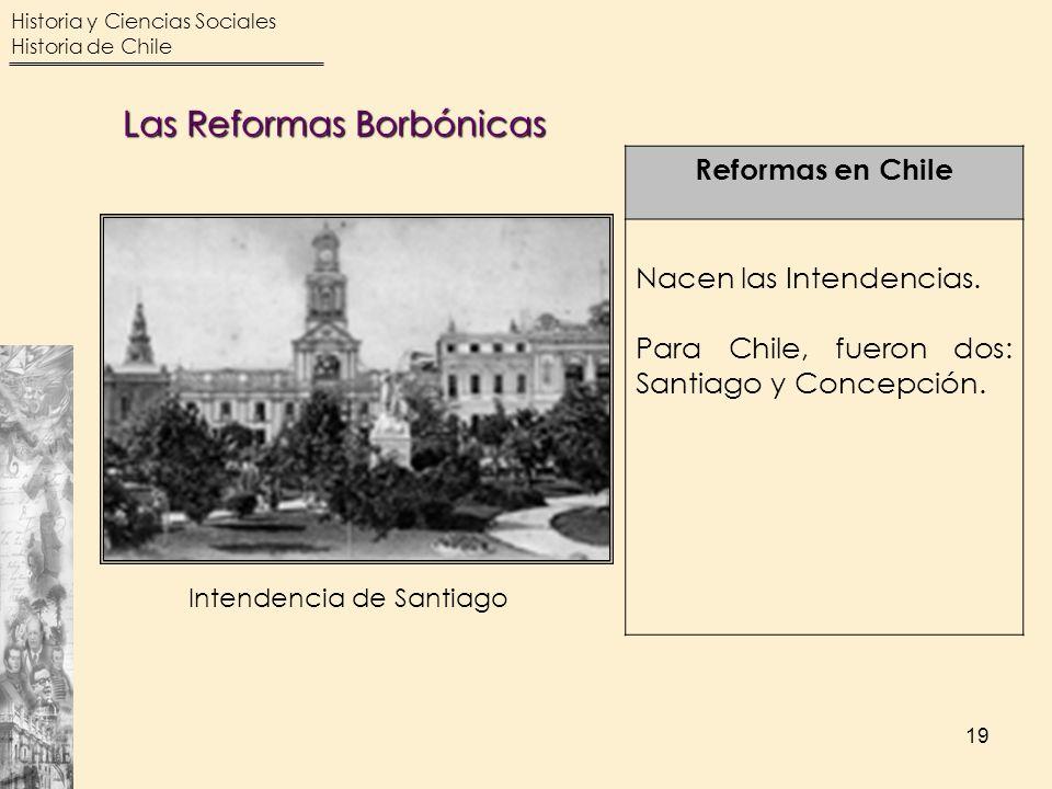 Historia y Ciencias Sociales Historia de Chile 19 Reformas en Chile Nacen las Intendencias. Para Chile, fueron dos: Santiago y Concepción. Intendencia