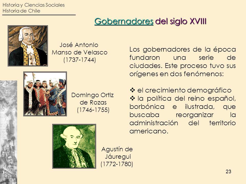 Historia y Ciencias Sociales Historia de Chile 23 Los gobernadores de la época fundaron una serie de ciudades. Este proceso tuvo sus orígenes en dos f
