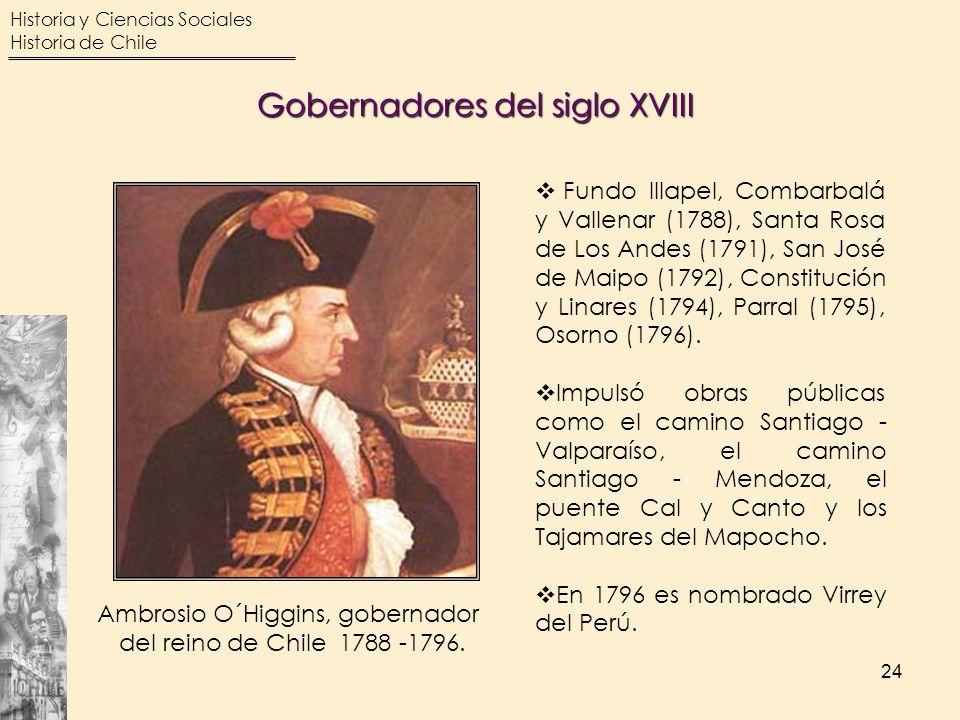 Historia y Ciencias Sociales Historia de Chile 24 Gobernadores del siglo XVIII Ambrosio O´Higgins, gobernador del reino de Chile 1788 -1796. Fundo Ill