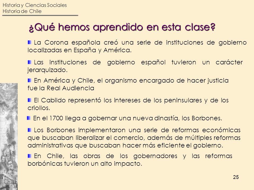Historia y Ciencias Sociales Historia de Chile 25 La Corona española creó una serie de instituciones de gobierno localizadas en España y América. Las