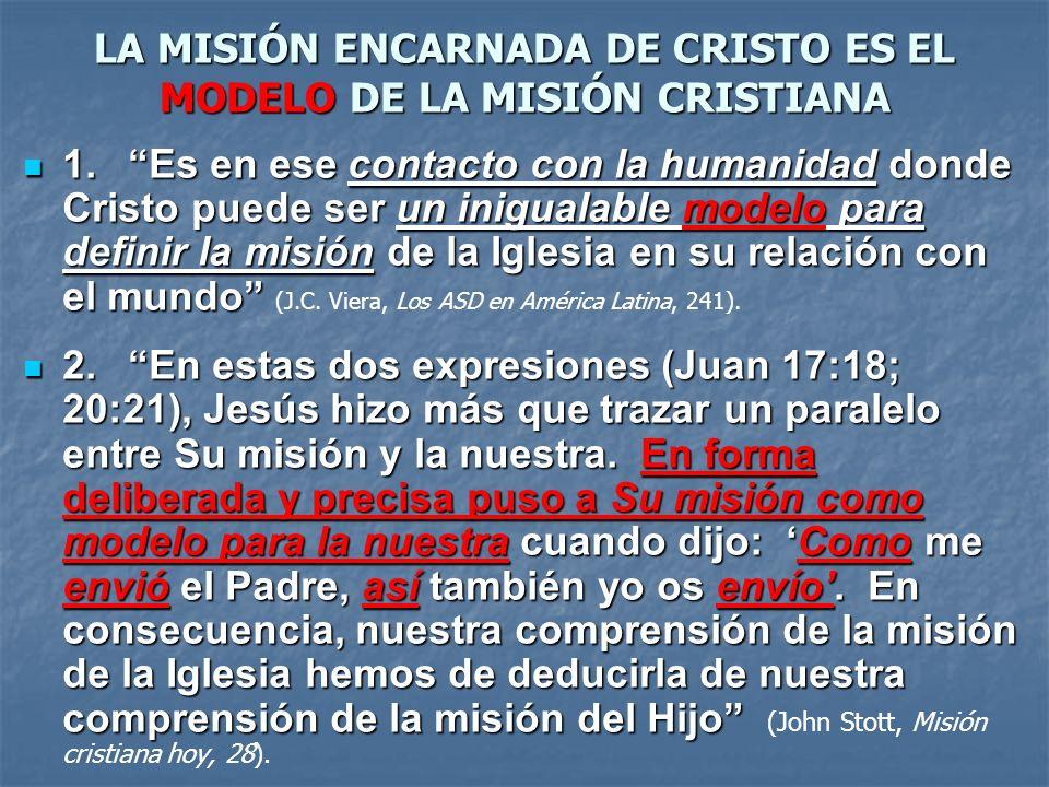 LA MISIÓN ENCARNADA DE CRISTO ES EL MODELO DE LA MISIÓN CRISTIANA 1.Es en ese contacto con la humanidad donde Cristo puede ser un inigualable modelo p