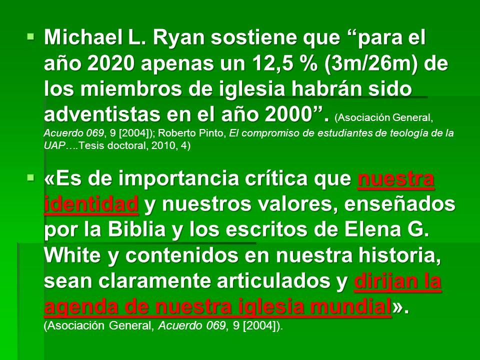 Michael L. Ryan sostiene que para el año 2020 apenas un 12,5 % (3m/26m) de los miembros de iglesia habrán sido adventistas en el año 2000. Michael L.